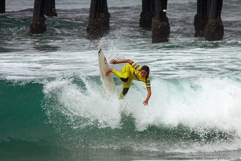 Alessa Quizon hits the lip in the shorebreak at the 2013 Supergirl Pro in Oceanside, California. Surf photo by Chris Grant, Jettygirl Online Surf Magazine.