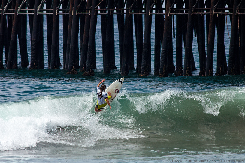 Alessa Quizon hits the lip on the outer sandbar at the 2013 Supergirl Pro in Oceanside, California. Surf photo by Chris Grant, Jettygirl Online Surf Magazine.