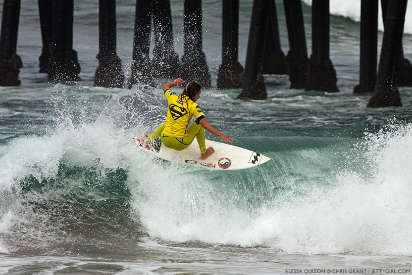 One final hit in the shorebreak for Hawaiian surfer, Alessa Quizon, at the 2013 Supergirl Pro in Oceanside, California. Surf photo by Chris Grant, Jettygirl Online Surf Magazine.
