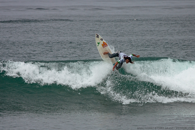 Peru's Anali Gomez led a strong South American contingency at the 2013 Supergirl Pro in Oceanside, California. Surf photo by Chris Grant, Jettygirl Online Surf Magazine.