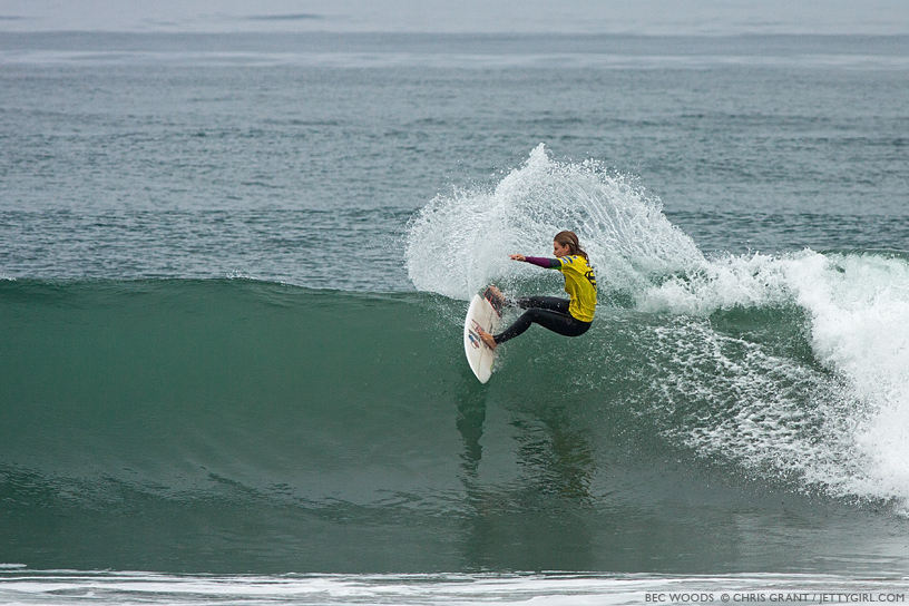 Bec Woods throws a hook on a clean wave at the 2013 Supergirl Pro in Oceanside, California. Surf photo by Chris Grant, Jettygirl Online Surf Magazine.