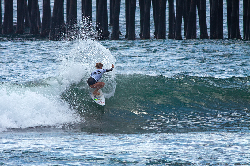 Bethany  Hamilton shredded this wave and earned a berth into the final day at the 2013 Supergirl Pro in Oceanside, California. Surf photo by Chris Grant, Jettygirl Online Surf Magazine.