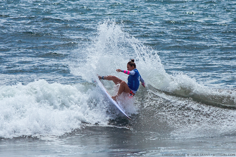 Carissa Moore threw down some nice turns in a wave-starved heat at the 2013 Supergirl Pro in Oceanside, California. Surf photo by Chris Grant, Jettygirl Online Surf Magazine.