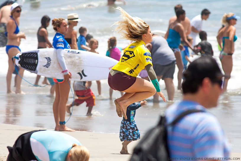 Dimity Stoyle's pre-heat ritual at the 2013 Supergirl Pro in Oceanside, California. Surf photo by Chris Grant, Jettygirl Online Surf Magazine.