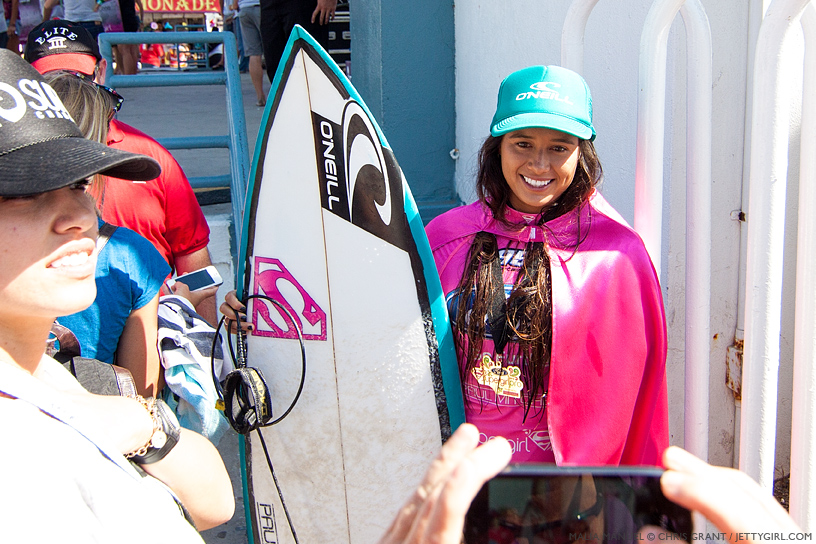 Event winner Malia Manuel at the 2013 Supergirl Pro in Oceanside, California. Surf photo by Chris Grant, Jettygirl Online Surf Magazine.