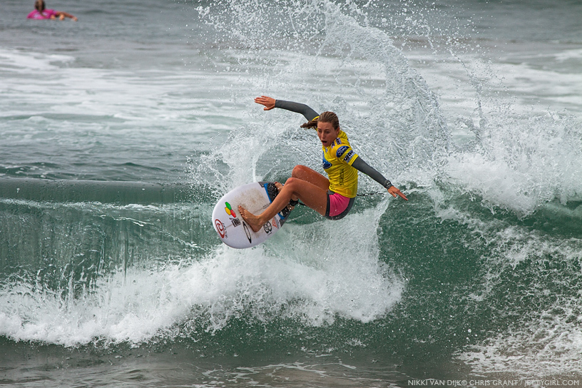 Australia's Nikki  Van Dijk, one of the strongest competitors throughout the week at the 2013 Supergirl Pro in Oceanside, California. Surf photo by Chris Grant, Jettygirl Online Surf Magazine.