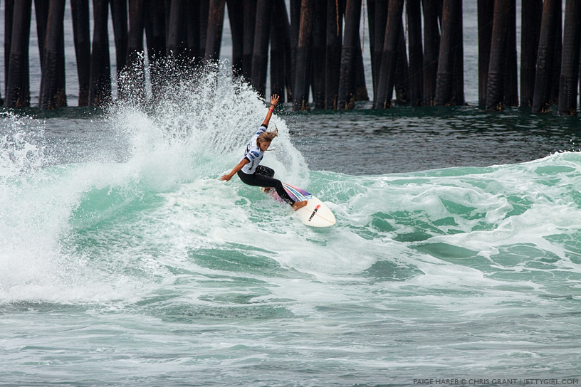 New Zealand's Paige Hareb shredded into her second consecutive second place finish at the 2013 Supergirl Pro in Oceanside, California. Surf photo by Chris Grant, Jettygirl Online Surf Magazine.