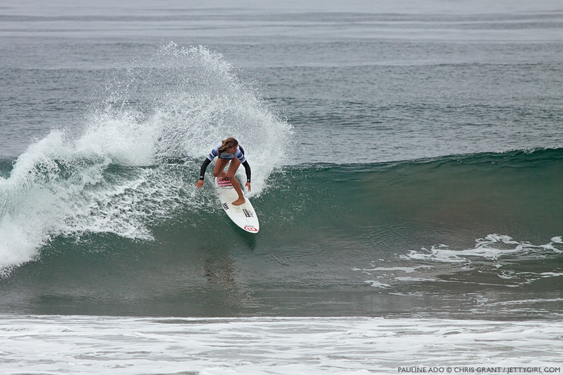 Pauline Ado throws spray at the 2013 Supergirl Pro in Oceanside, California. Surf photo by Chris Grant, Jettygirl Online Surf Magazine.