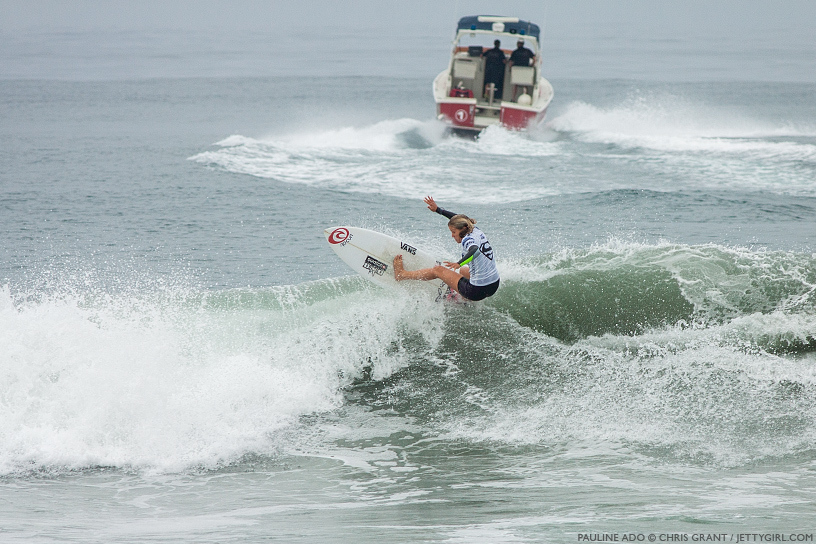 France's Pauline Ado hits the lip at the 2013 Supergirl Pro in Oceanside, California. Surf photo by Chris Grant, Jettygirl Online Surf Magazine.