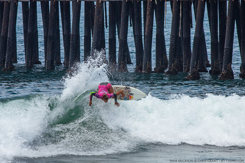 Last year's winner, Sage Erickson, threw down some heavy turns at the 2013 Supergirl Pro in Oceanside, California. Surf photo by Chris Grant, Jettygirl Online Surf Magazine.