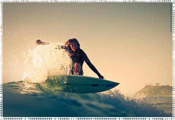 Serena Brooke at Cardiff Reef, surf photo by Chris Grant