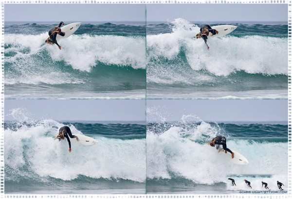 Serena Brooke backside floater in Cardiff, surf photo by Chris Grant of JettyGirl Online Surf Magazine
