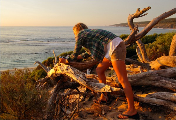 Jessica Grimwood enjoying the golden light of a West Oz sunset. Photo courtesy of Jessica Grimwood and friends.