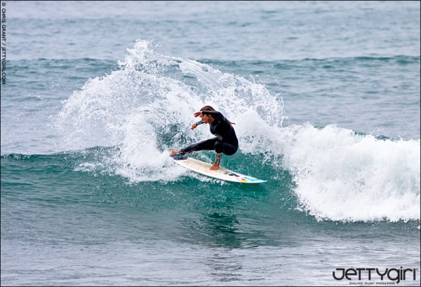 World Champion Sofia Mulanovich wearing a Kassia Meador Roxy wetsuit design, surf photo by Chris Grant