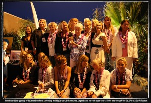 Group photo of legendary female surfers. Photo courtesy of the California Surf Museum.