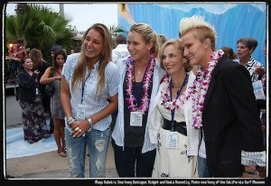 Maya Gabeira, Courtney Conlogue, Gidget and Keala Kennelly. Photo courtesy of the California Surf Museum.