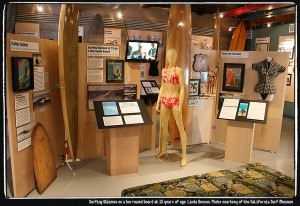 Linda Benson exhibit for Women On Waves. Photo courtesy of the California Surf Museum.