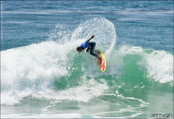 11 year old Meah Collins barely missed the final but had one of the turns of the event. Surf photo by Chris Grant of JettyGirl Online Surf Magazine.