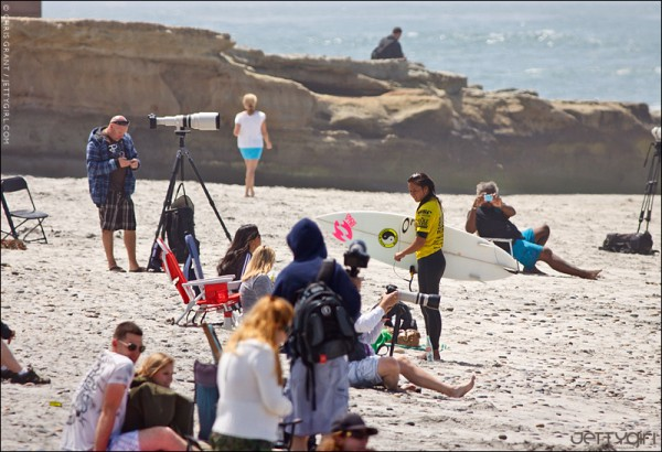 Alessa Cuizon after her quarterfinal victory at the Rob Machado Seaside Pro Junior. Photo by Chris Grant of JettyGirl Online Surf Magazine.