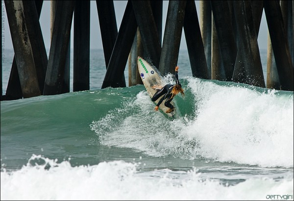 Jenna Balester at Huntington Beach Pier. Surf photo by Chris Grant, JettyGirl Online Surf Magazine.
