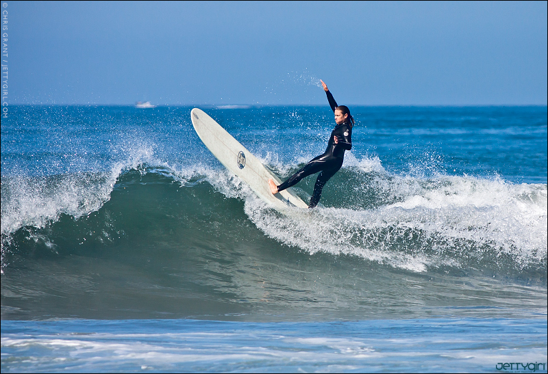 Cori Schumacher off the lip, Oceanside, California. Surfing photo by Chris Grant of JettyGirl Online Surf Magazine.
