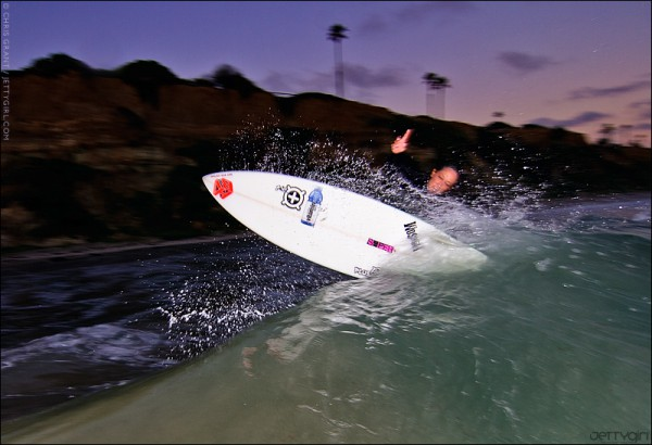 Shea Hodges, evening surf. Surfing photo by Chris Grant of JettyGirl.com