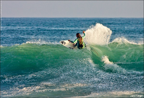 Jasset Umbel, late afternoon Lowers. Surf photo by Chris Grant, JettyGirl Online Surf Magazine.