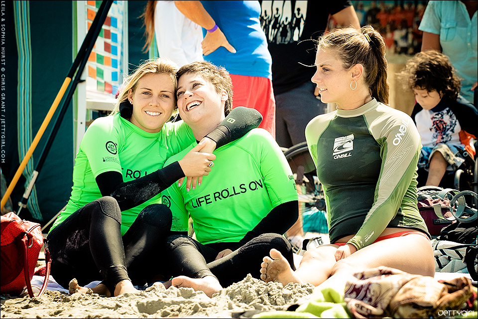 All smiles at Life Rolls On's They Will Surf Again event, Leila Hurst, Sophia Hurst and good friend, Natalie McPeek. Photo by Chris Grant of Jettygirl Online Surf Magazine.