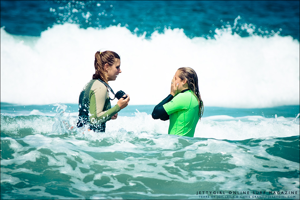 Overwhelmed with joy at her sister's first ride, Leila Hurst sheds some tears. Photo by Chris Grant of Jettygirl Surf Magazine.