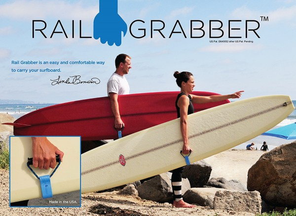 Rail Grabber by surf legend Linda Benson provides a comfortable way to carry a surfboard