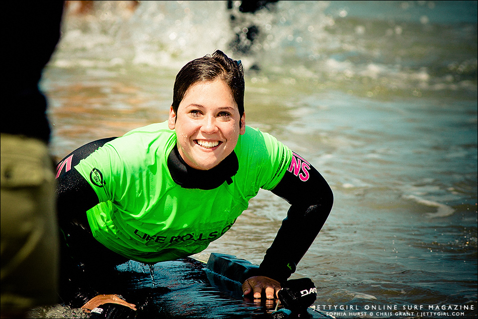 Sophia Hurst, all smiles after her last ride at They Will Surf Again. Photo by Chris Grant, Jettygirl.com