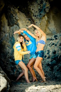 Bruin barrel with Chandler Parr, Taylor Pitz and Heather Jordan. Photo by Chris Grant, Jettygirl Online Surf Magazine.