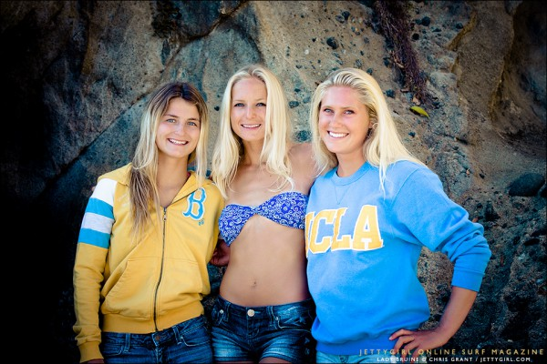 Chandler Parr, Heather Jordan and Taylor Pitz. UCLA Lady Bruins Surf Team. Photo by Chris Grant, Jettygirl Surf Magazine