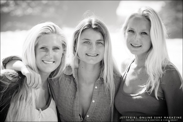 Taylor Pitz, Chandler Parr and Heather Jordan. UCLA Lady Bruins Surf Team. Photo by Chris Grant, Jettygirl Surf Magazine