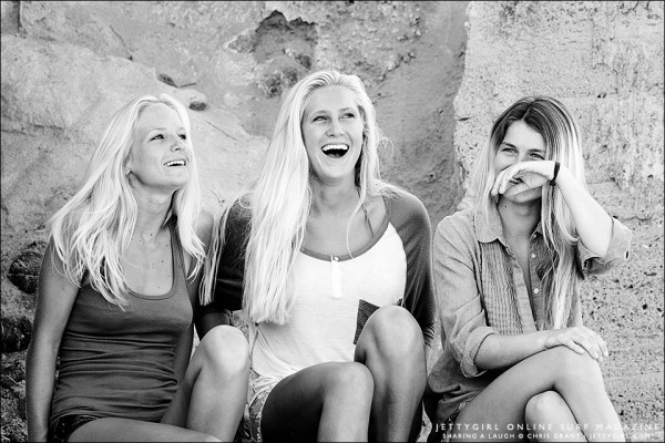 Heather Jordan, Taylor Pitz and Chandler Parr sharing a laugh. Photography by Chris Grant, Jettygirl Online Surf Magazine.