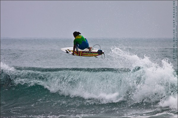 Silvana Lima double grab at Lower Trestles. Surfing photography by Chris Grant, Jettygirl Online Surf Magazine.
