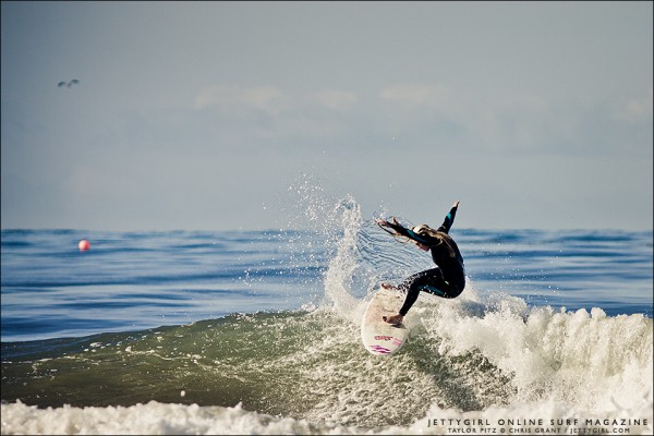 Taylor Pitz, early morning in San Diego County. Surf photo by Chris Grant, Jettygirl Surf Magazine.