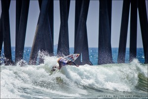 Carissa Moore banks off the foam at the US Open of Surfing. Photo by Chris Grant, Jettygirl Online Surf Magazine.