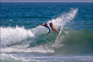 Carissa Moore at the US Open of Surfing at Huntington Beach Pier. Photo by Chris Grant, Jettygirl Surf Magazine.