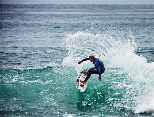 Sage Erickson slicing a fun right at Lowers. Surf photo © Chris Grant, Jettygirl.com