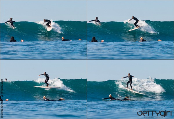 One of my favorite sequences of Jen Smith. She says this is easy but then again, she IS the 2007 ASP Women's World Longboard Champion. Surf photo by Chris Grant, Jettygirl Online Surf Magazine.