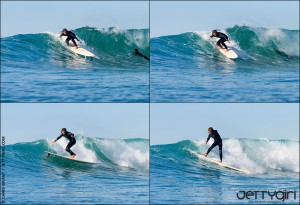 """One of the secrets of advanced maneuvers is """"quiet"""" body movements. Jen's board is spinning but her head and shoulders don't budge. Surfing photo by Chris Grant, Jettygirl.com"""