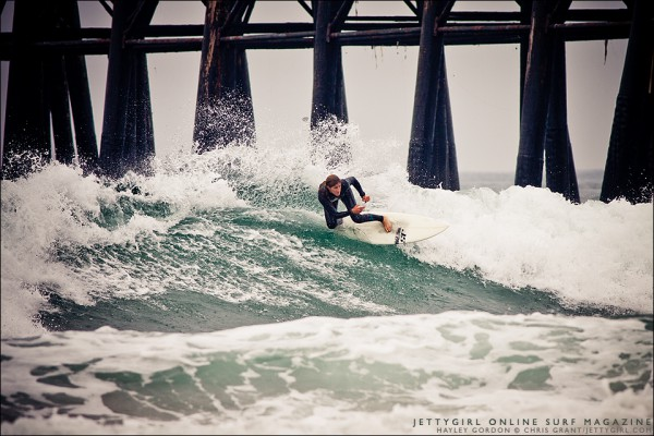 Hayley Gordon banks a nice turn in Oceanside, California. Surf photo by Chris Grant, Jettygirl Online Surf Magazine.