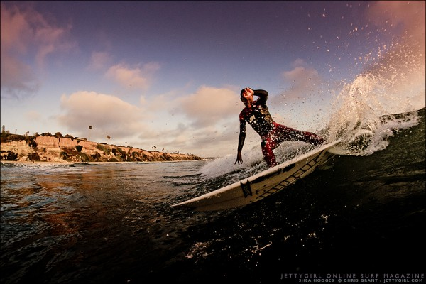 Shea Hodges, late afternoon slice. Surf photo by Chris Grant, Jettygirl Online Surf Magazine.
