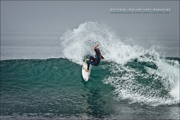 Claire Bevilacqua at Trestles. Surf photo by Chris Grant, Jettygirl Online Surf Magazine.