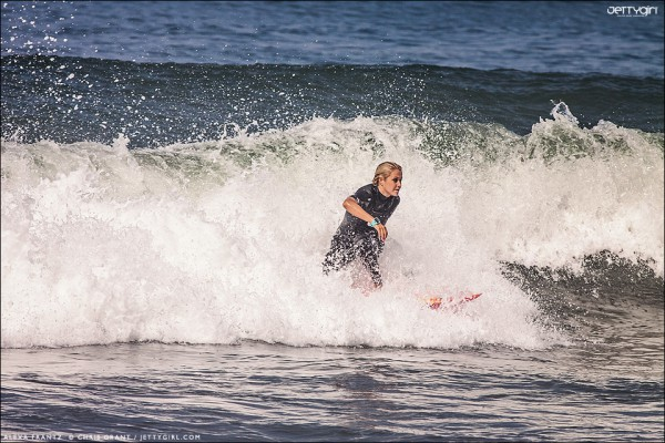 Alexa Frantz surfing a San Diego secret spot. Photo Friday on Jettygirl.com. Surf photography by Chris Grant.