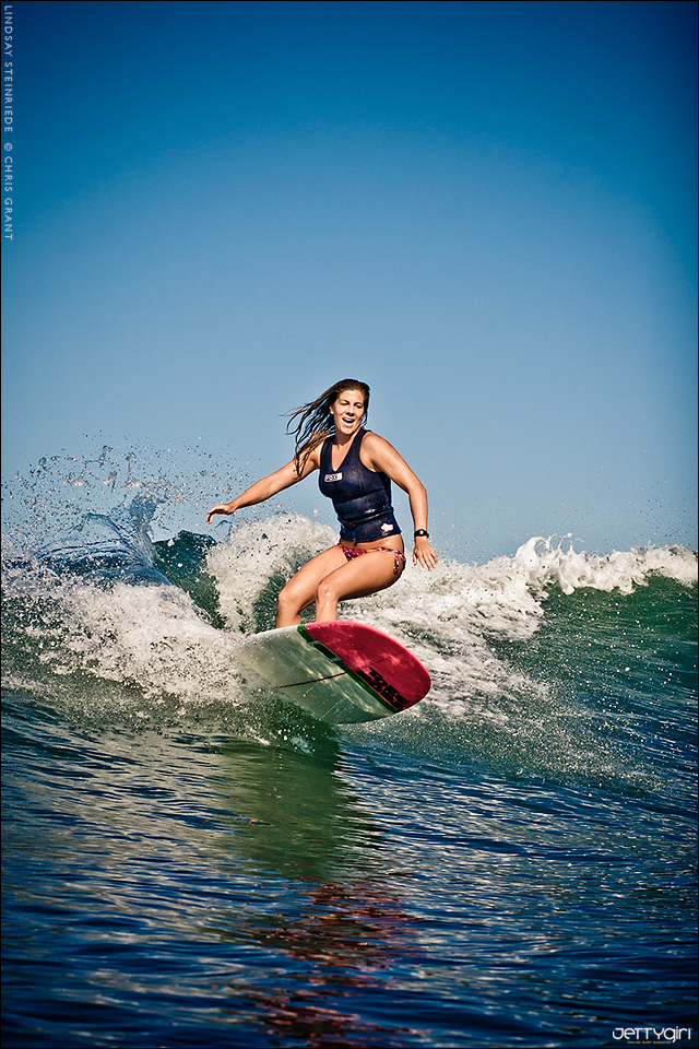 Lindsay Steinriede surfing at San Onofre. Surf photo by Chris Grant of Jettygirl Online Surf Magazine.