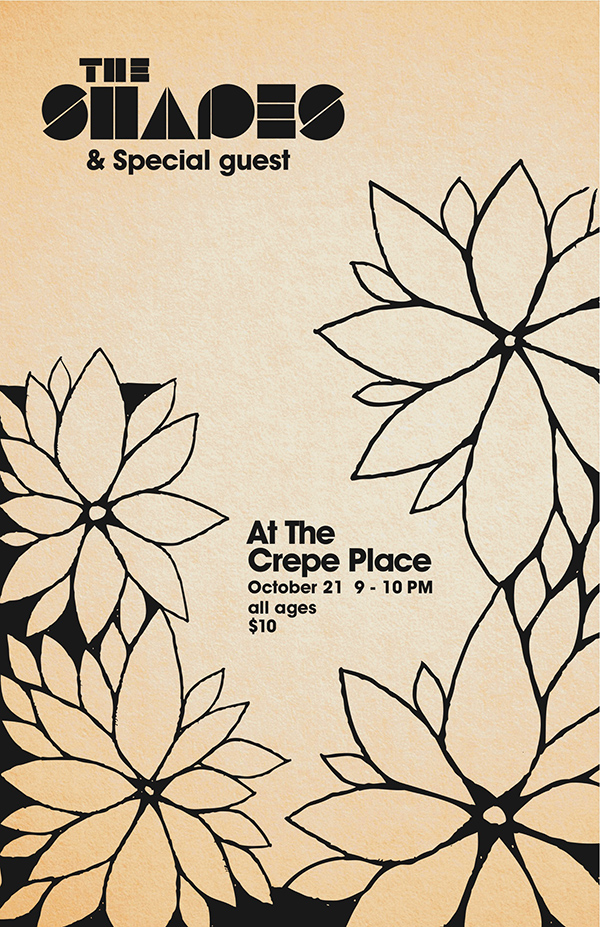 The Shapes & Special Guest at The Crepe Place - October 21, 2012, 9-10pm, all ages, $10. Featuring Alex Thompson, Ashley Lloyd Thompson, Ron Work and Damon Danielson.