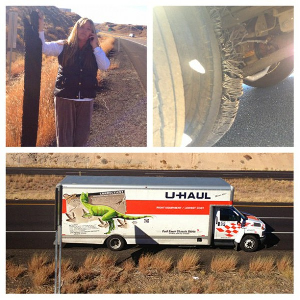 Flat tire number one - Project Save Our Surf - Mary Osborne and Karon Pardue - East Coast Hurricane Sandy donations