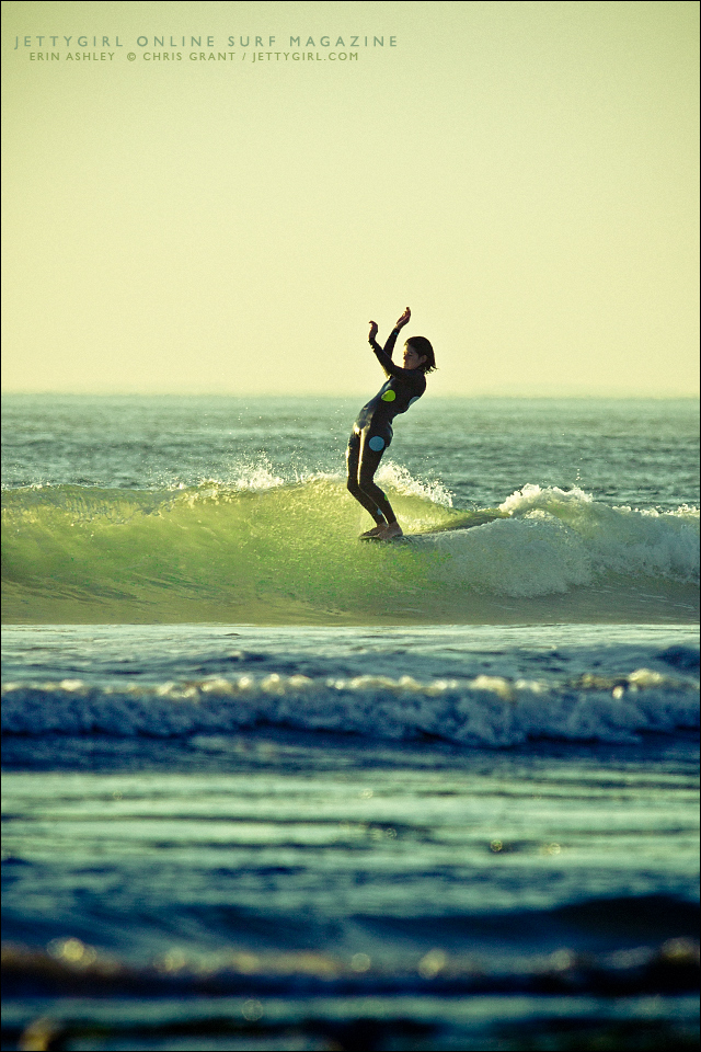 Erin Ashley noseride in San Diego County. Surf photo by Chris Grant, Jettygirl Online Surf Magazine.